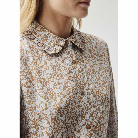 Modström Skjorte, Isa, Bluebell, skjorter med print, skjorter med flæsekrave - krave