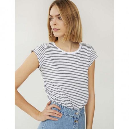 Mads Nørgaard T-Shirt, Teasy Organic Stripe, White/Grey Melange - model