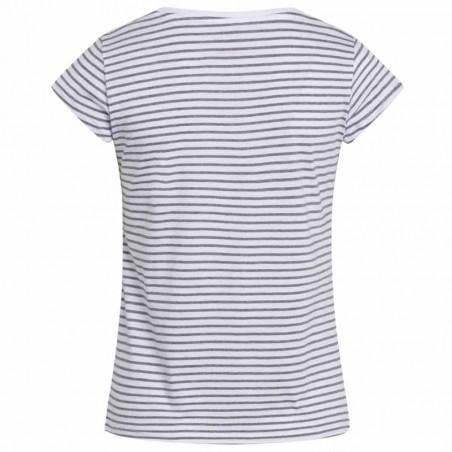 Mads Nørgaard T-Shirt, Teasy Organic Stripe, White/Grey Melange - bagside