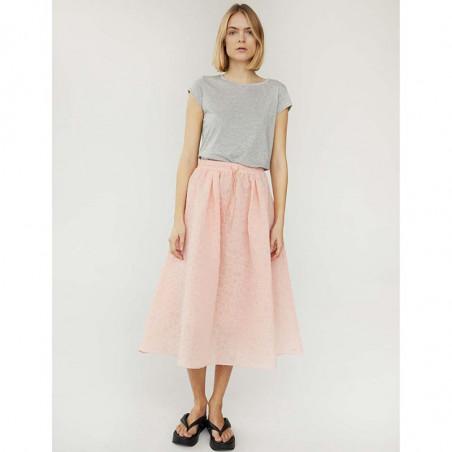 Mads Nørgaard T-Shirt, Teasy Organic Favorite, Grey Melange - nederdel