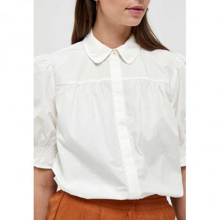 Minus Skjorte, Alette, Cloud Dancer, kortærmede skjorter - detalje
