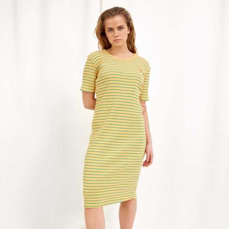 Hunkøn Kjole, Felipa, Yellow Striped, sommerkjole, hverdagskjole