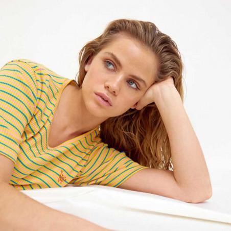 Hunkøn Kjole, Felipa, Yellow Striped, sommerkjole, hverdagskjole,  detalje