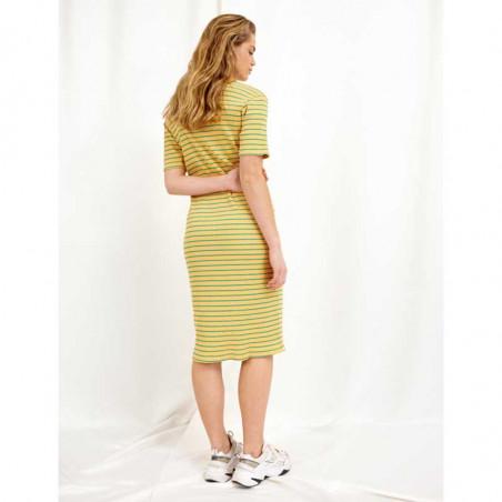 Hunkøn Kjole, Felipa, Yellow Striped, sommerkjole, hverdagskjole, bagside