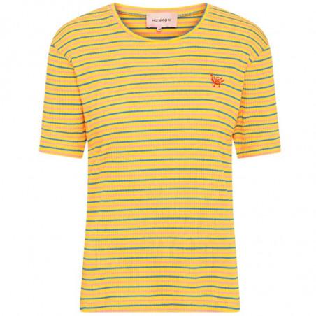 Hunkøn T-shirt, Felipa, Yellow Striped, stribet T-shirt - forside