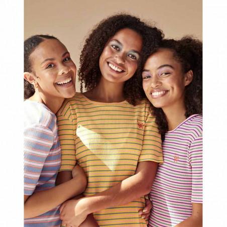 Hunkøn T-shirt, Felipa, Yellow Striped, stribet T-shirt - Model