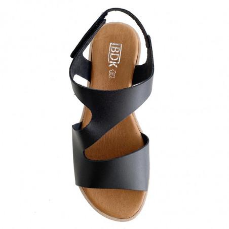 LBDK Sandaler, Sandal Asymmetrisk, Vaq Black Flad sandal i sort skind med hvid sål