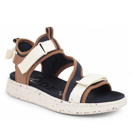 Woden Sandaler, Emilie, Navy, flade sandaler, sandaler med velcro - Fra siden