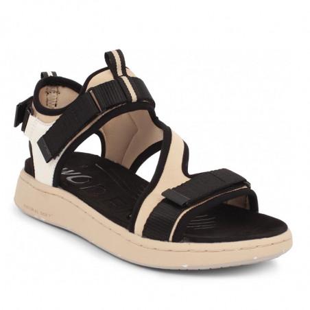 Woden Sandaler, Emilie, Beige, flade sandaler, sandaler med velcroremme, sandaler til remme, sporty sandaler - fra siden