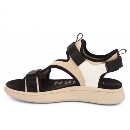 Woden Sandaler, Emilie, Beige, flade sandaler, sandaler med velcroremme, sandaler til remme, sporty sandaler - beige sål