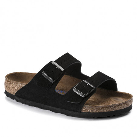 Birkenstock Sandaler, Arizona Suede Blød Fodseng, Black, flade sandaler, sandaler til kvinder, birkenstock til kvinder
