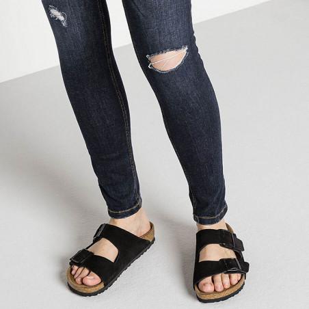Birkenstock Sandaler, Arizona Suede Blød Fodseng, Black, flade sandaler, sandaler til kvinder, birkenstock til kvinder - tæt på