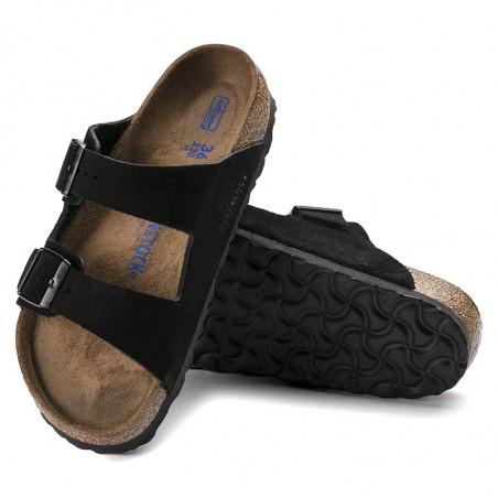 Birkenstock Sandaler, Arizona Suede Blød Fodseng, Black, flade sandaler, sandaler til kvinder, birkenstock til kvinder - par