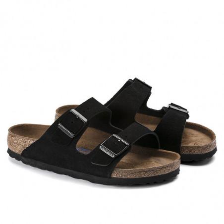 Birkenstock Sandaler, Arizona  Blød Fodseng, Black, flade sandaler, sandaler til kvinder, birkenstock til kvinder - fra side