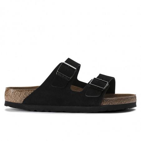 Birkenstock Sandaler, Arizona Suede Blød Fodseng, Black, flade sandaler, sandaler til kvinder, birkenstock til kvinder - ruskind