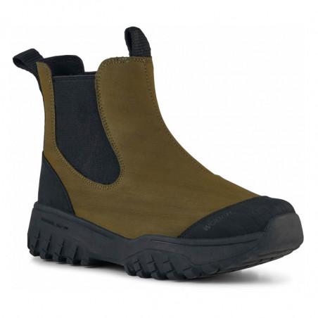 Woden Gummistøvler, Magda Rubber Track, Dark Olive/Black, gummistøvler til kvinder - fra siden
