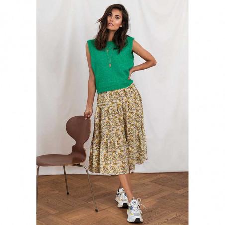 Lollys Laundry nederdel, blomstret nederdel, flower print, gul nederdel