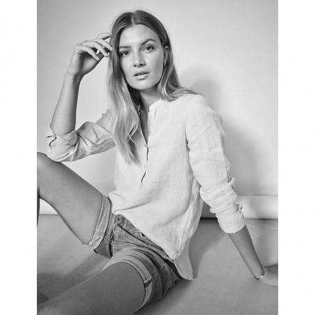 Mos Mosh Bluse, Danna Linen, White, hør skjorte - model