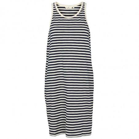 Basic Apparel Kjole, Rita Tank, Navy, stribet kjole, sommerkjole, hverdagskjole, kjole i jersey, kjole i navy