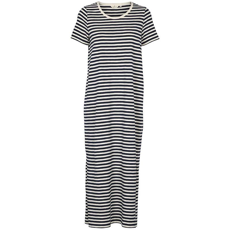 Basic Apparel Kjole, Rita Tee Long, Navy, sommerkjoler, hverdagskjoler, kjoler med striber, stribet kjole