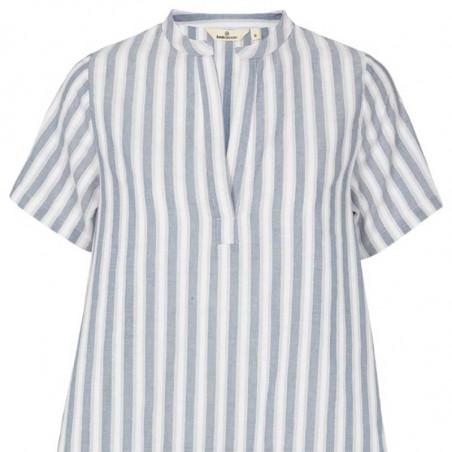 Basic Apparel Kjole, Kicki, Bijou Blue, sommerkjole, kjole til stranden, kjole med striber, hverdagskjole - tæt på