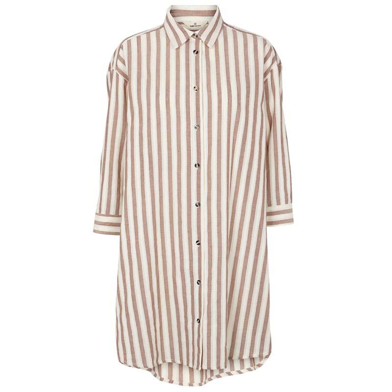 Basic Apparel Kjole, Nori, Mink, stribet kjole, stribet skjorte, hverdagskjole, sommerkjole, økologisk bomuld
