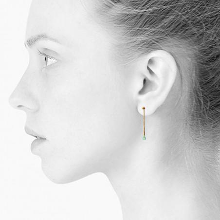 Scherning Øreringe, Lux, Spearmint, guldfarvet øreringe - model