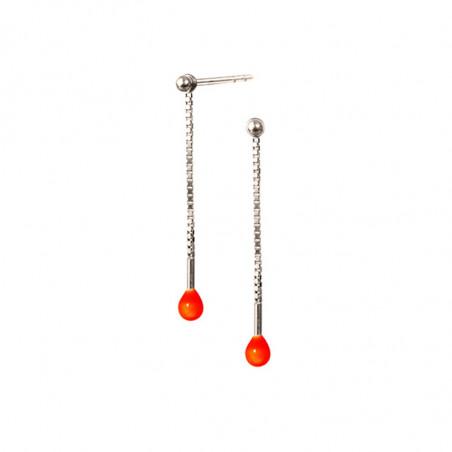 Scherning Øreringe, Lux, Neon Orange, sølvfarvet øreringe
