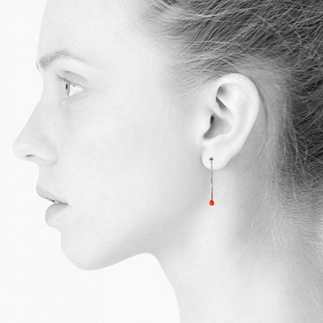 Scherning Øreringe, Lux, Neon Orange, sølvfarvet øreringe - model