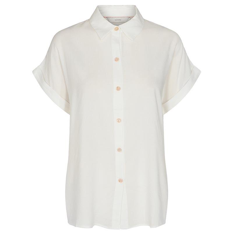 Nümph Skjorte, Nucathy, Bright White, hvid skjorte, Nümph tøj, Numph bluse