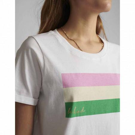 Nümph T-shirt, Nucarina, Bright White, basic T-shirt, numph tøj, numph bluse - striber
