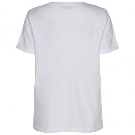 Nümph T-shirt, Nucatkin, Bright White, numph tøj, numph bluse, t-shirt i økologisk bomuld - Bagside