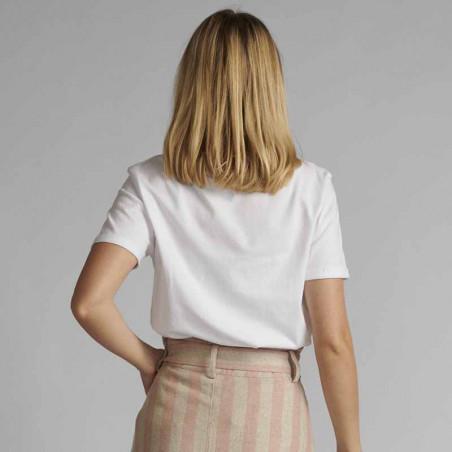 Nümph T-shirt, Nucatkin, Bright White, numph tøj, numph bluse, t-shirt i økologisk bomuld - Bag fra