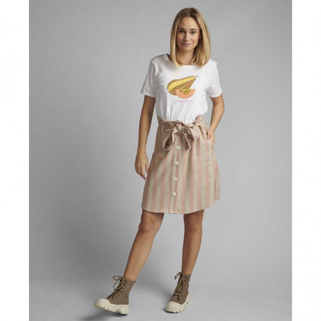 Nümph T-shirt, Nucatkin, Bright White, numph tøj, numph bluse, t-shirt i økologisk bomuld - langt fra