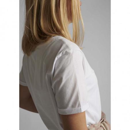 Nümph T-shirt, Nucatkin, Bright White, numph tøj, numph bluse, t-shirt i økologisk bomuld - ærme