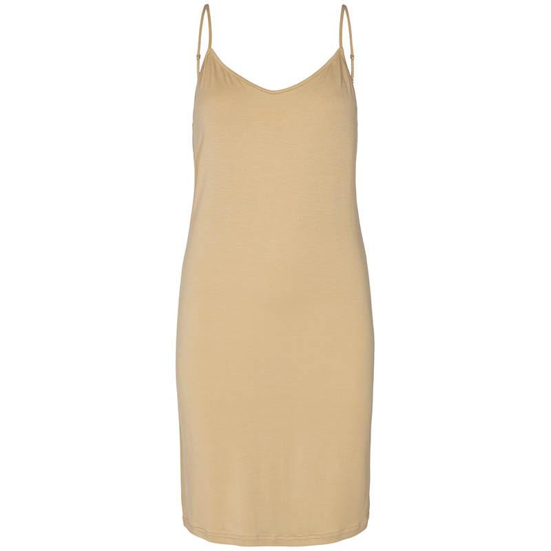 Nümph Underkjole, Nucady Long Singlet, Pebble Numph kjole i beige jersey