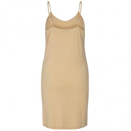 Nümph Underkjole, Nucady Long Singlet, Pebble Numph kjole i beige jersey ryg
