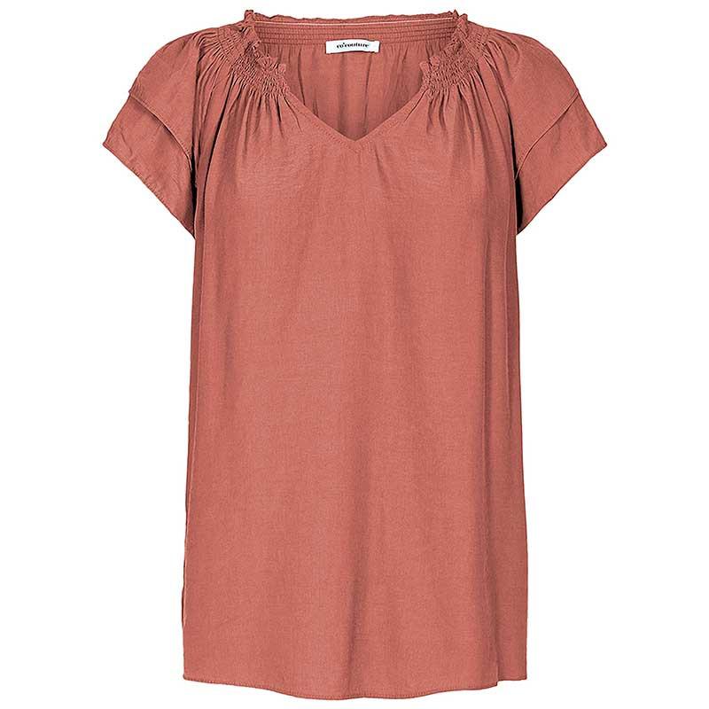 Co'Couture Bluse, Sunrise, Henna, sommertop, top med korte ærmer