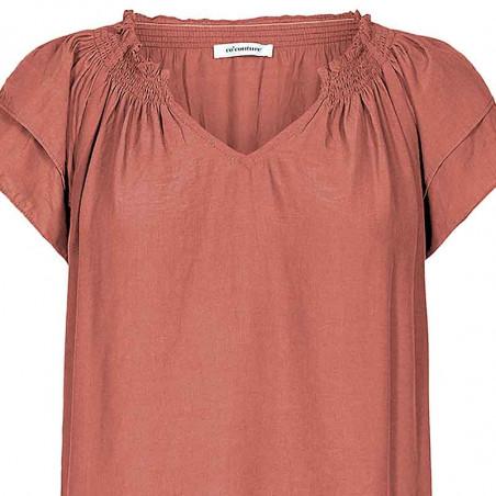Co'Couture Bluse, Sunrise, Henna, sommertop, top med korte ærmer - Detalje
