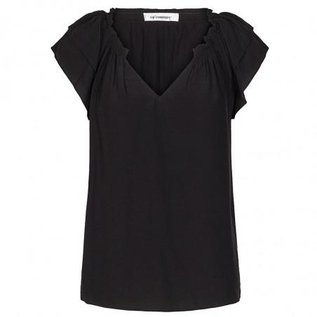 Co'Couture Bluse, Sunrise, Black, sommertop, bluse med korte ærmer