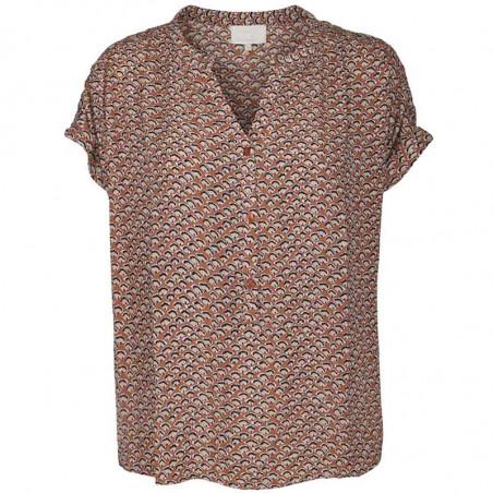 Minus Bluse, Delaila, Hazel Sea Shell Print, sommer toppe, kortærmede bluser