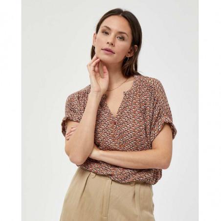 Minus Bluse, Delaila, Hazel Sea Shell Print, sommer toppe, kortærmede bluser - detalje
