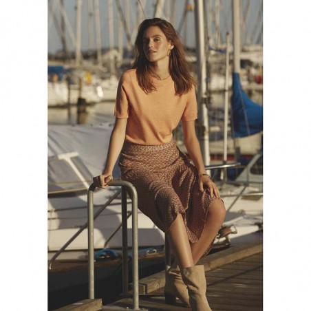Minus Nederdel, delaila, Hazel Sea Shell Print, bæredygtigt materiale, ecovero viskose - Model på båd