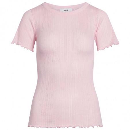 Mads Nørgaard T-shirt, Pointella Trixa, Light Pink, basic t-shirt, t-shirt med babylock
