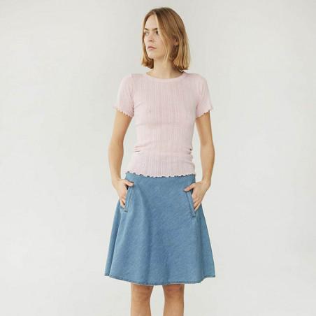 Mads Nørgaard T-shirt, Pointella Trixa, Light Pink, basic t-shirt, t-shirt med babylock - model