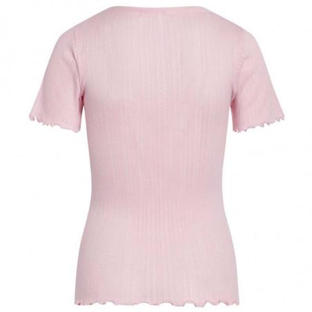 Mads Nørgaard T-shirt, Pointella Trixa, Light Pink, basic t-shirt, t-shirt med babylock- bagside
