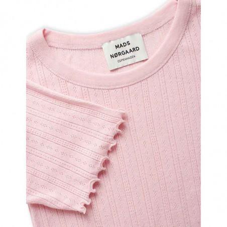 Mads Nørgaard T-shirt, Pointella Trixa, Light Pink, basic t-shirt, t-shirt med babylock - detaljer