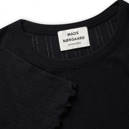 Mads Nørgaard T-shirt, Pointella Trixa, Black, økologisk bomuld, økologisk t-shirt, basic t-shirt, babylock - ribkant