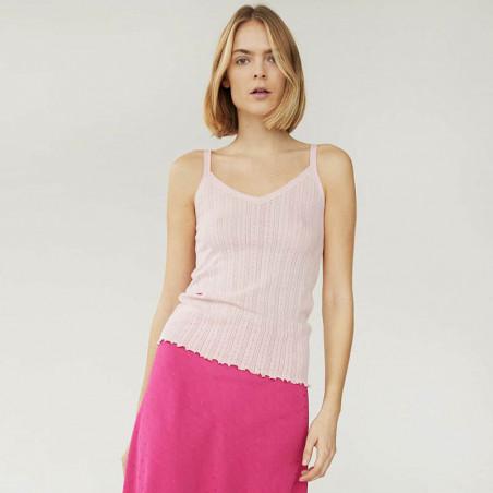 Mads Nørgaard Top, Pointella Trille, Light Pink, babylock, top med tynde stropper, økologisk bomuld - model