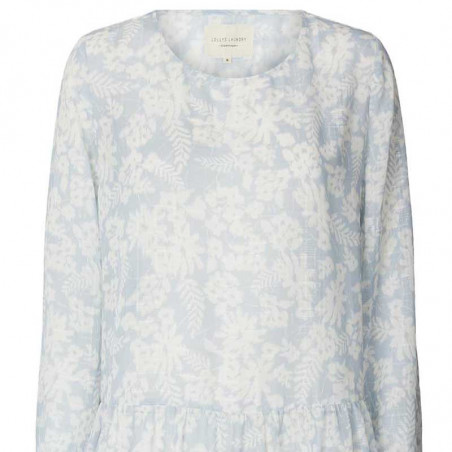 Lollys Laundry Kjole, Albert, Dusty Blue, sommerkjole, hverdagskjole - blomsterprint